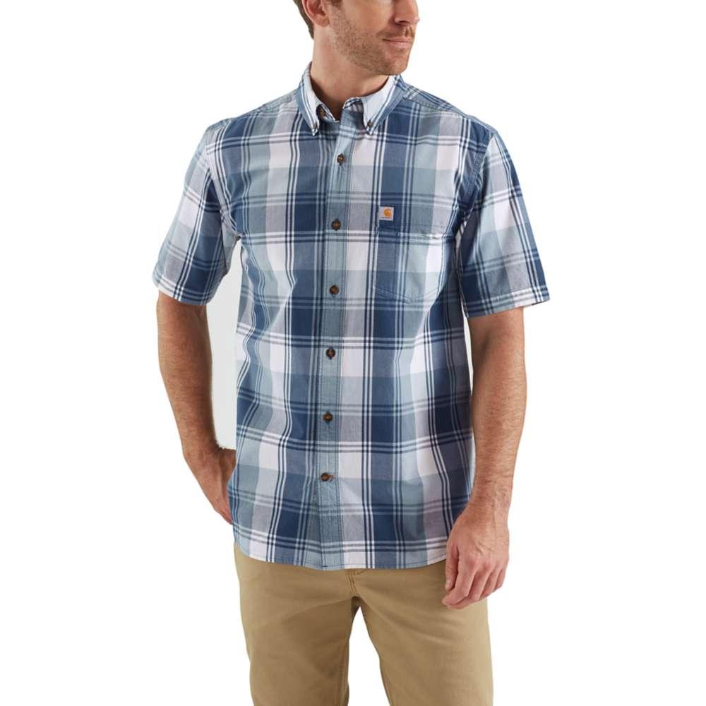 mens carhartt essential plaid shirt blue