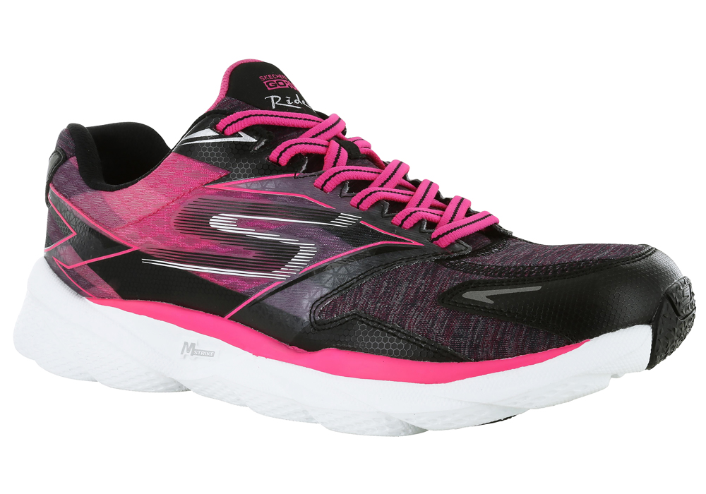 womens skechers go run ride 4 runner black/hot pink