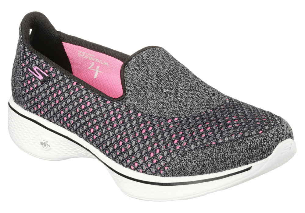 womens skechers go walk 4 kindle slip on black/pink