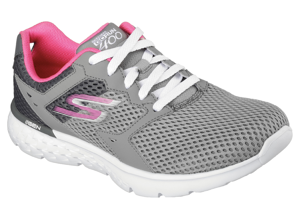 womens skechers go run 400 charcoal/pink