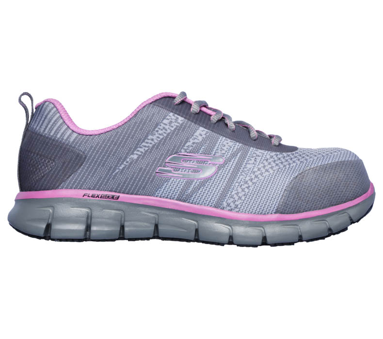 womens skechers work alloy toe EH SR saquenay gray/pink
