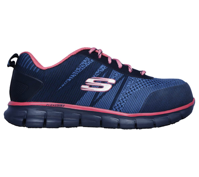 Womens Skechers Work Alloy Toe EH SR Saquenay Navy/Pink