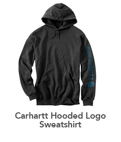 SUPER SHOES' 2018 HOLIDAY GIFT GUIDE Mens Carhartt Hooded Logo Sweatshirt Heather Carbon