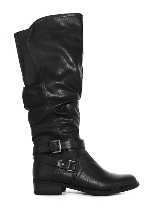 Womens White Mountain Layton Side Zip Boot Black with short heel and two buckles