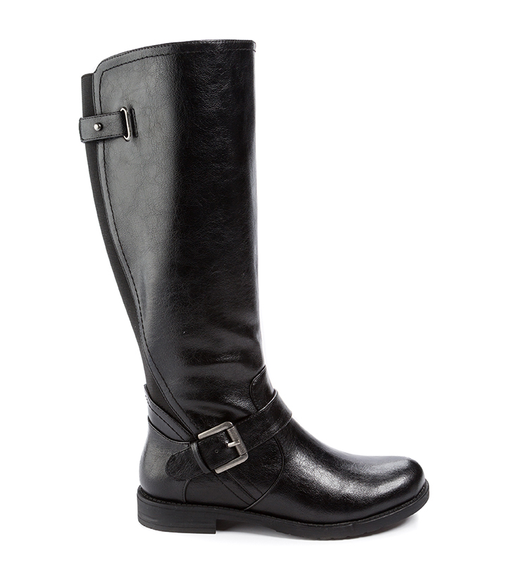 Womens Wear Ever by Bare Traps Callen Side Zip Boot Black tall boot with buckle