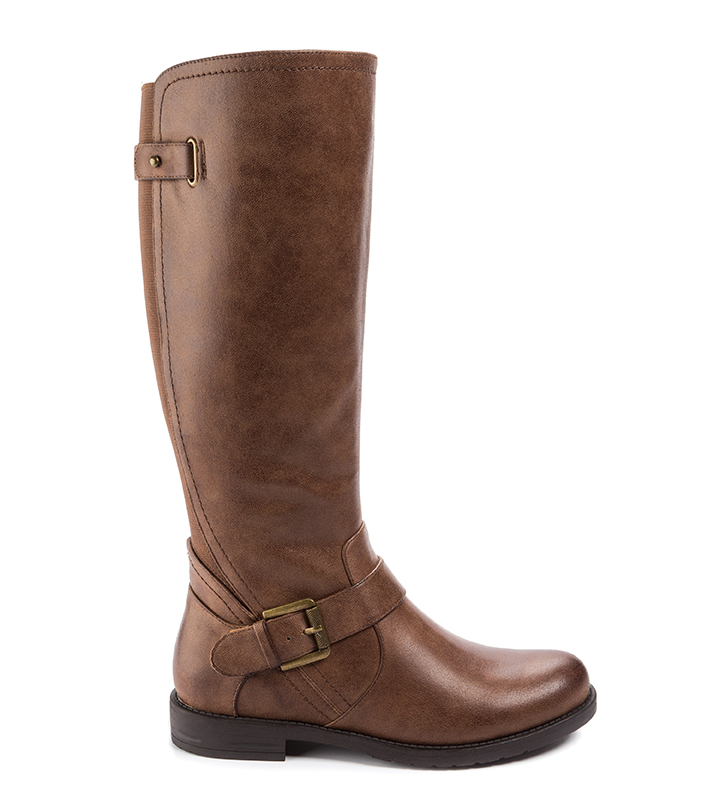 Womens Wear Ever by Bare Traps Callen Side Zip Boot Chestnut tall boot with buckle