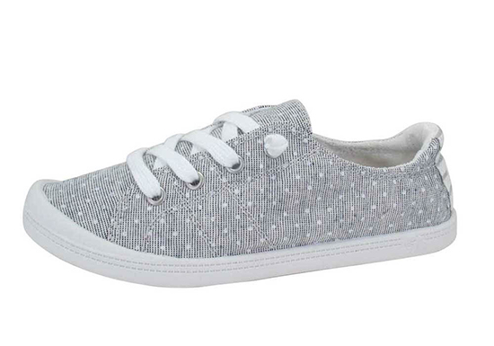 womens slip on jellypop dallas gray dot canvas