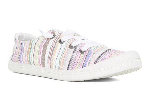 womens slip on jellypop dallas multi colored striped canvas