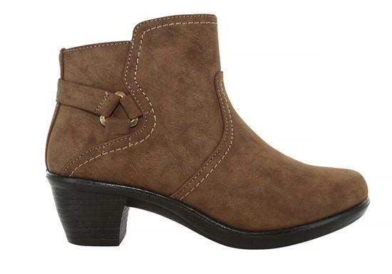 Womens Easy Street Dawnta Side Zip Boot Brown with buckle and heel