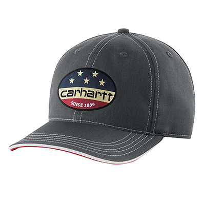 mens carhartt flag patch cap gray