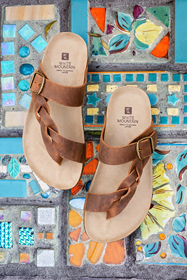 womens white mountain honor footbed sandal brown on mosaic background