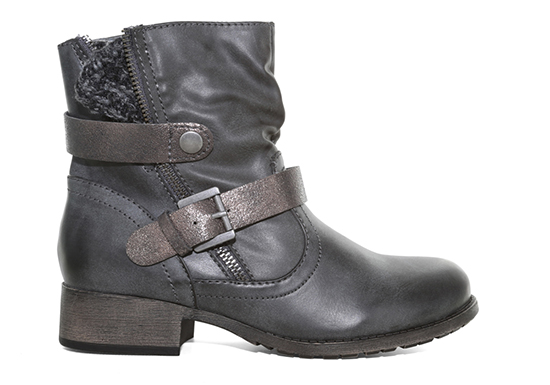 Womens Jellypop Legend Side Zip Boot Charcoal with Sweater detail and buckle