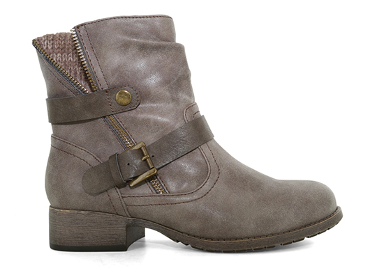 Womens Jellypop Legend Side Zip Boot gray with Sweater detail and buckle
