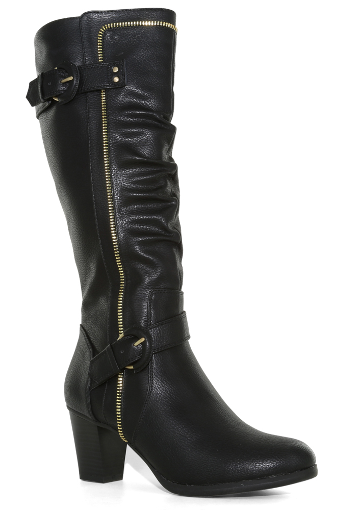 Womens Rialto Flame Side Zip Boot Black with gold buckle and zipper