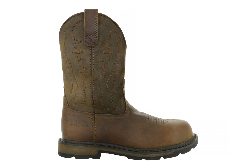 Mens Ariat 10 Quot Steel Toe Ground Breaker Wellington Brown