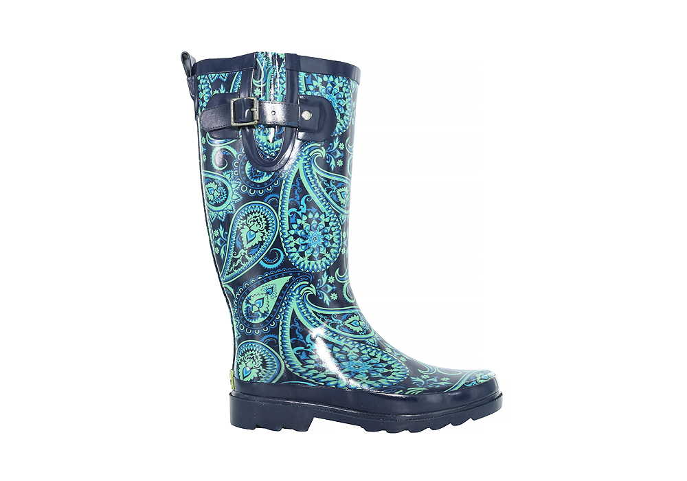 Womens Western Chief Wild Paisley Rain Boot Navy/Teal