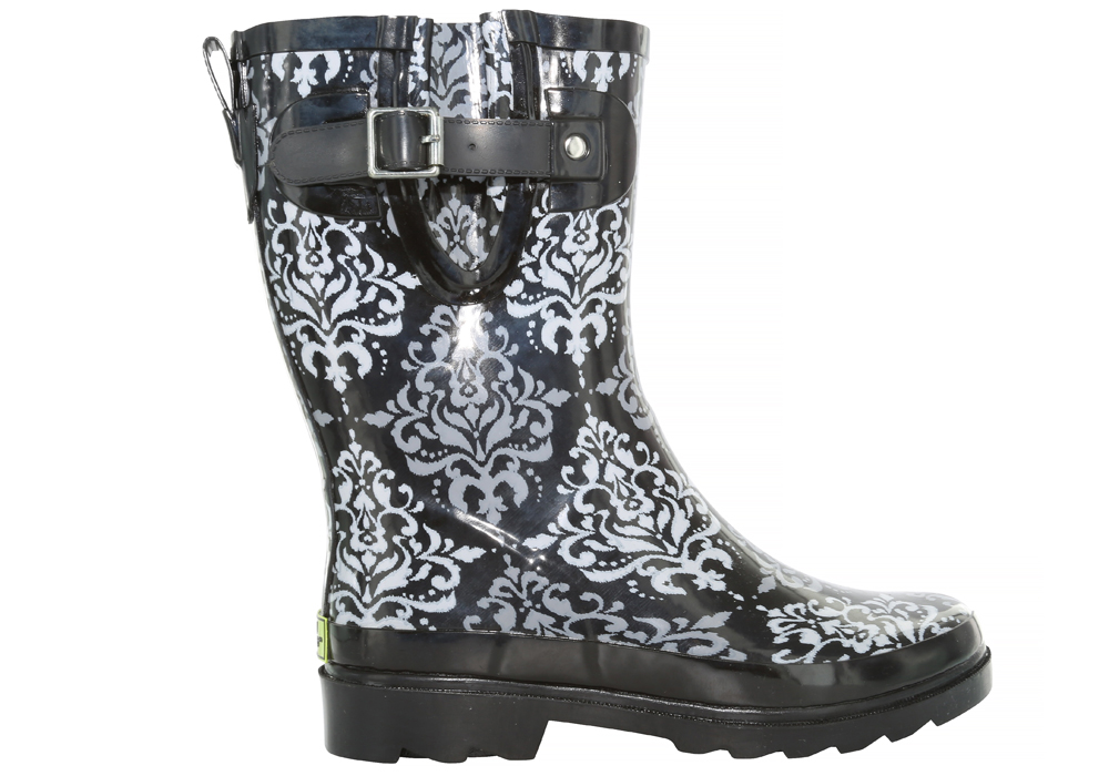 Womens Western Chief Darling Damask Mid Rain Boot Black/Grey