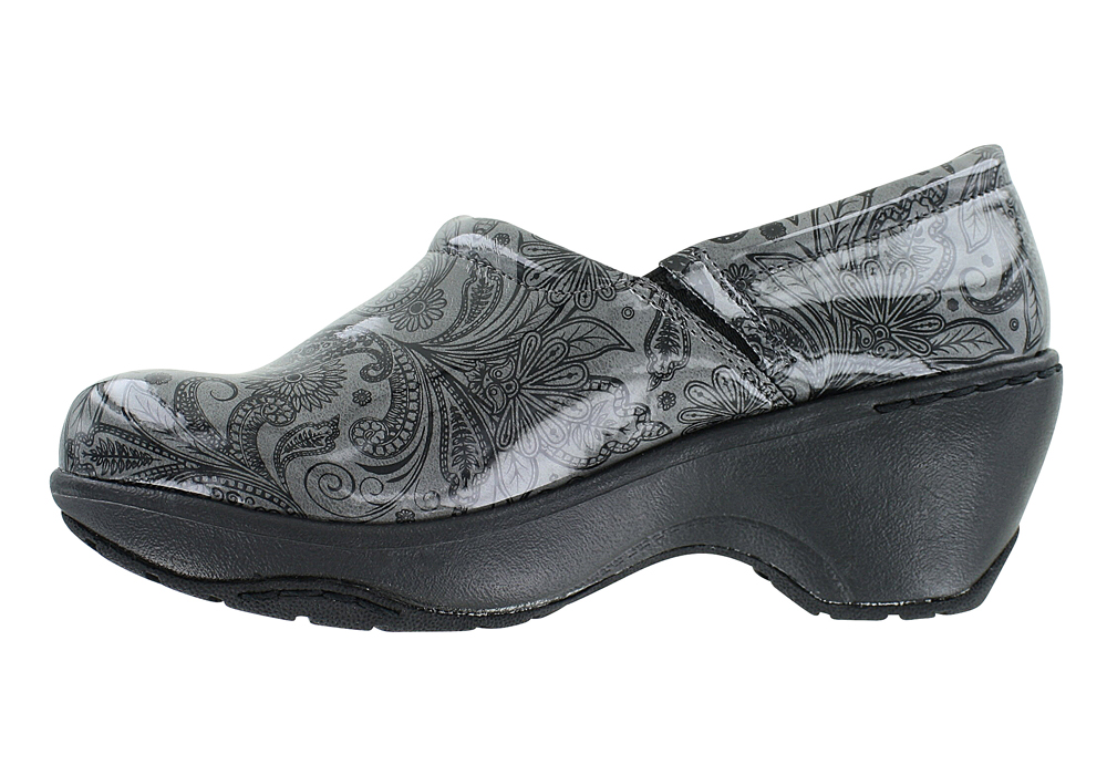 Nurse Mates Bryar Slip On Gray Black Paisley Print For Women