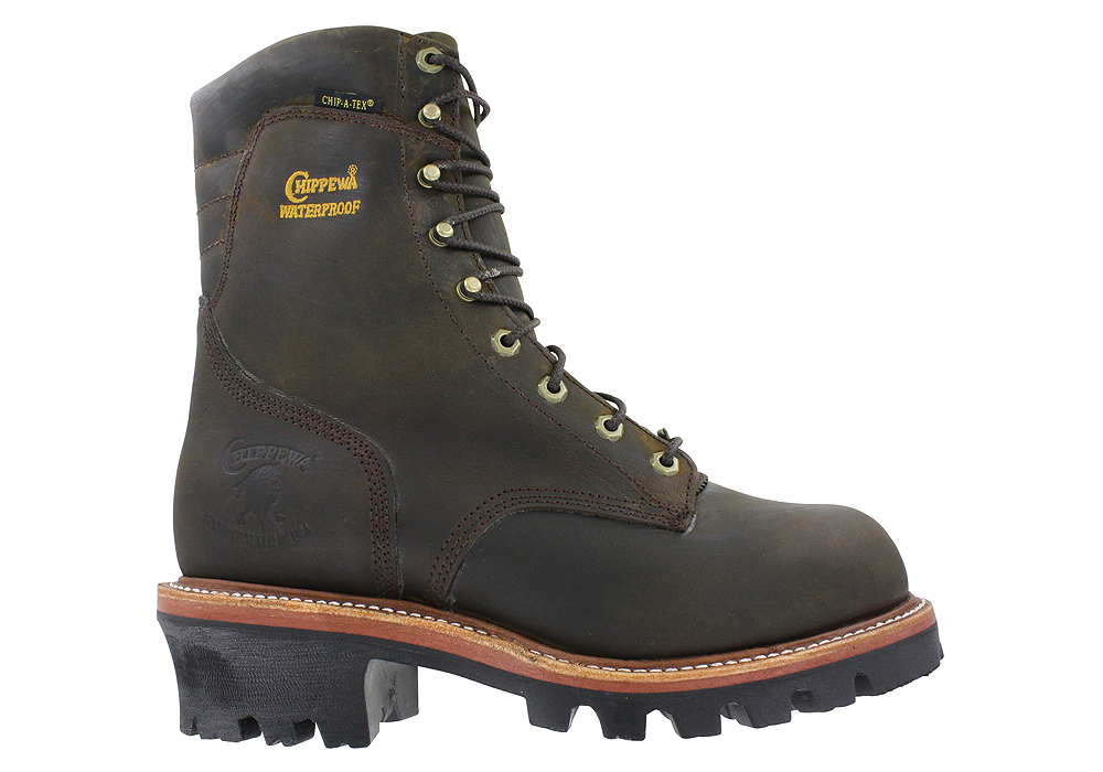 Mens Chippewa 9 Quot Steel Toe Waterproof Logger Brown