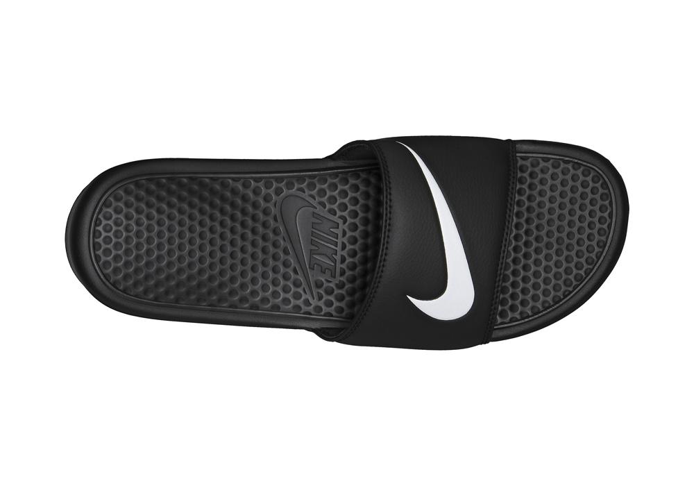 666b043041542 Mens Nike Benassi Swoosh Slide Sandal Black in Black