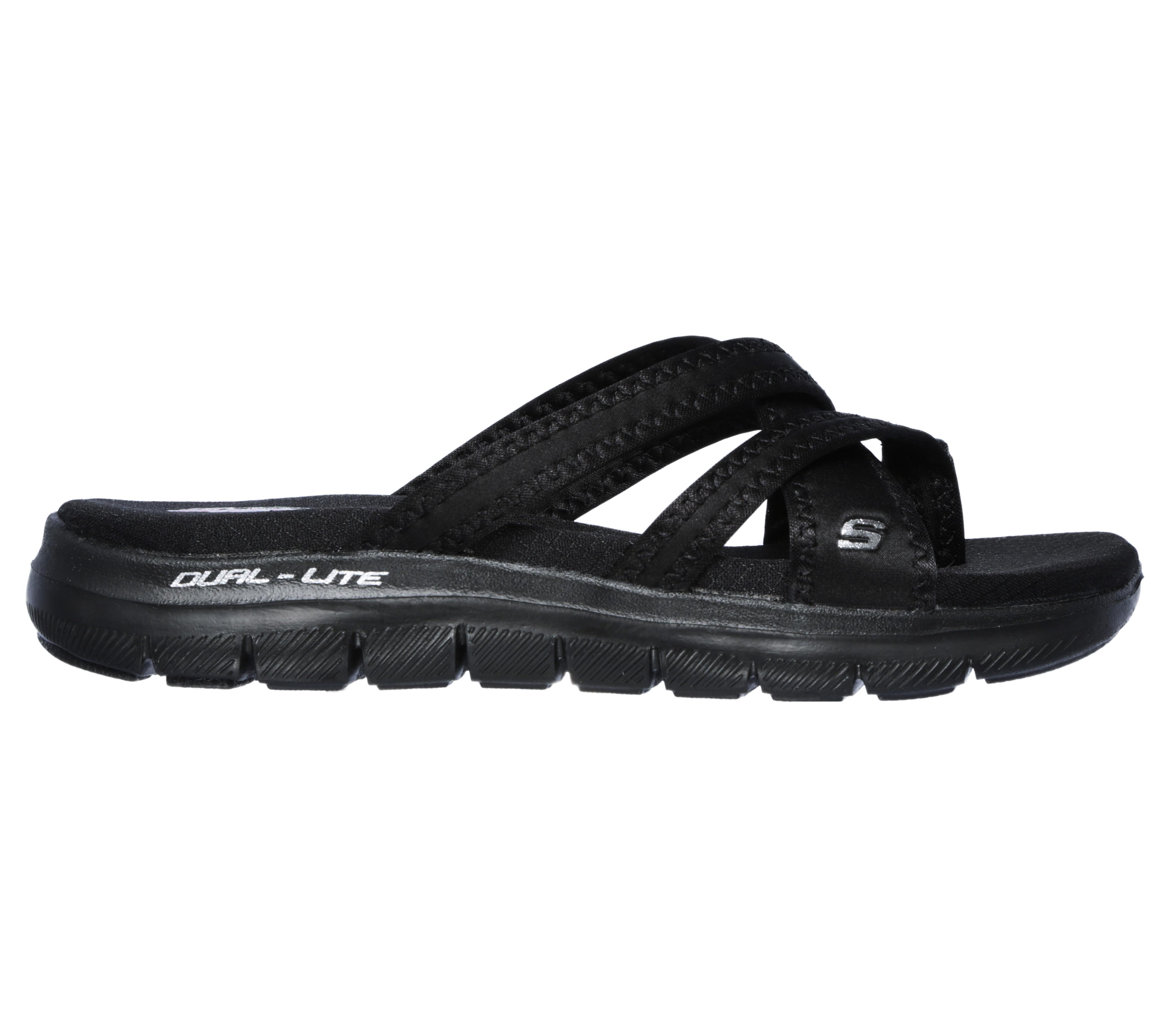 3c020e2f855db Womens Skechers Cali Flex Appeal 2.0 Start Up Thong Black