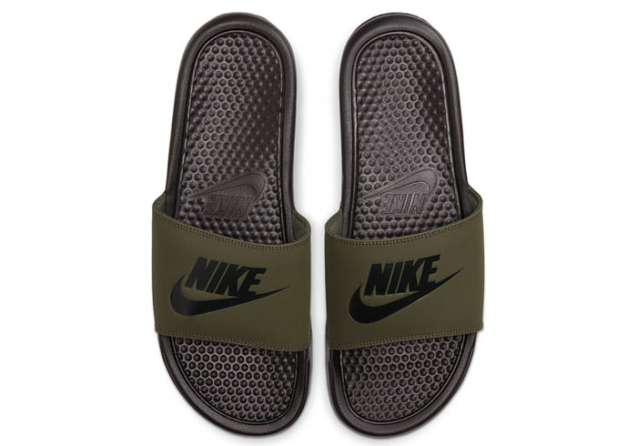 17ab87ff7637 Mens Nike Benassi JDI Slide Olive Black in Green