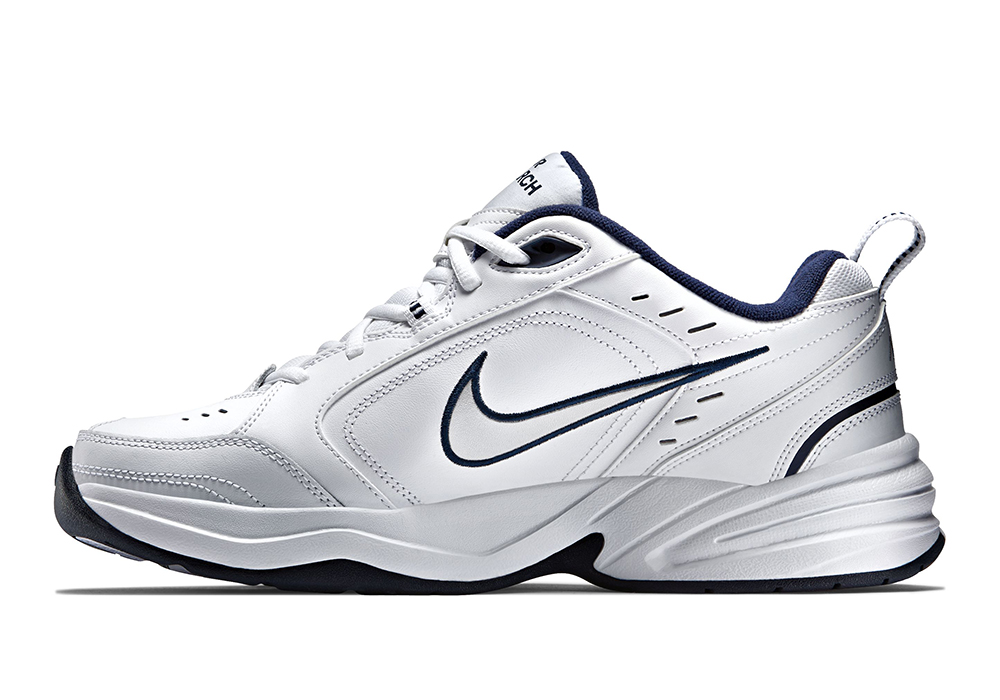 Mens Nike Air Monarch IV Trainer White   Navy in White 32f4ef98c