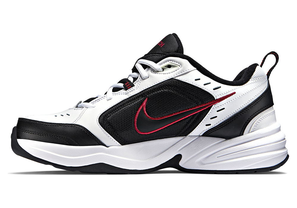 mens nike air monarch iv 4e trainer white  black  red in white
