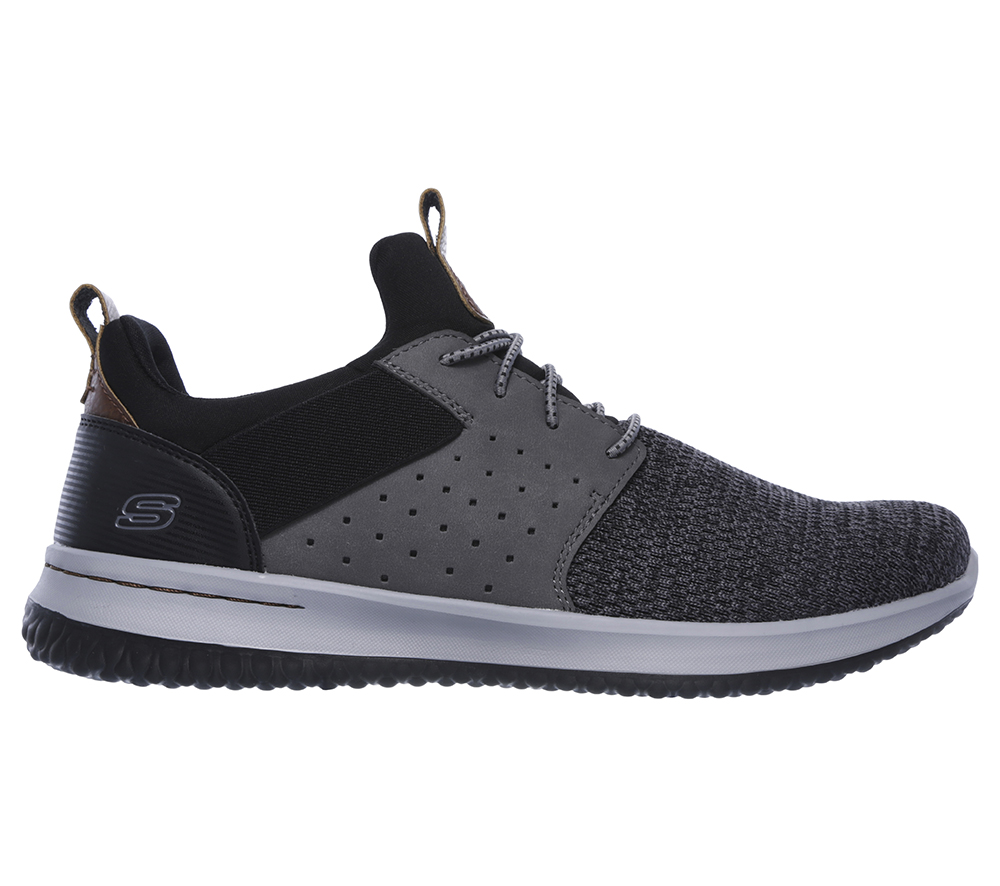 Mens Skechers Delson Camben Slip On W Bungee Cord Black Grey