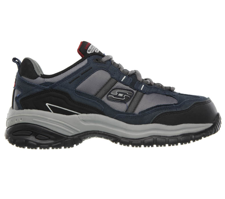 Mens Skechers Work Composite Toe Slip Resistant EH Grinnel Trail Navy/Gray