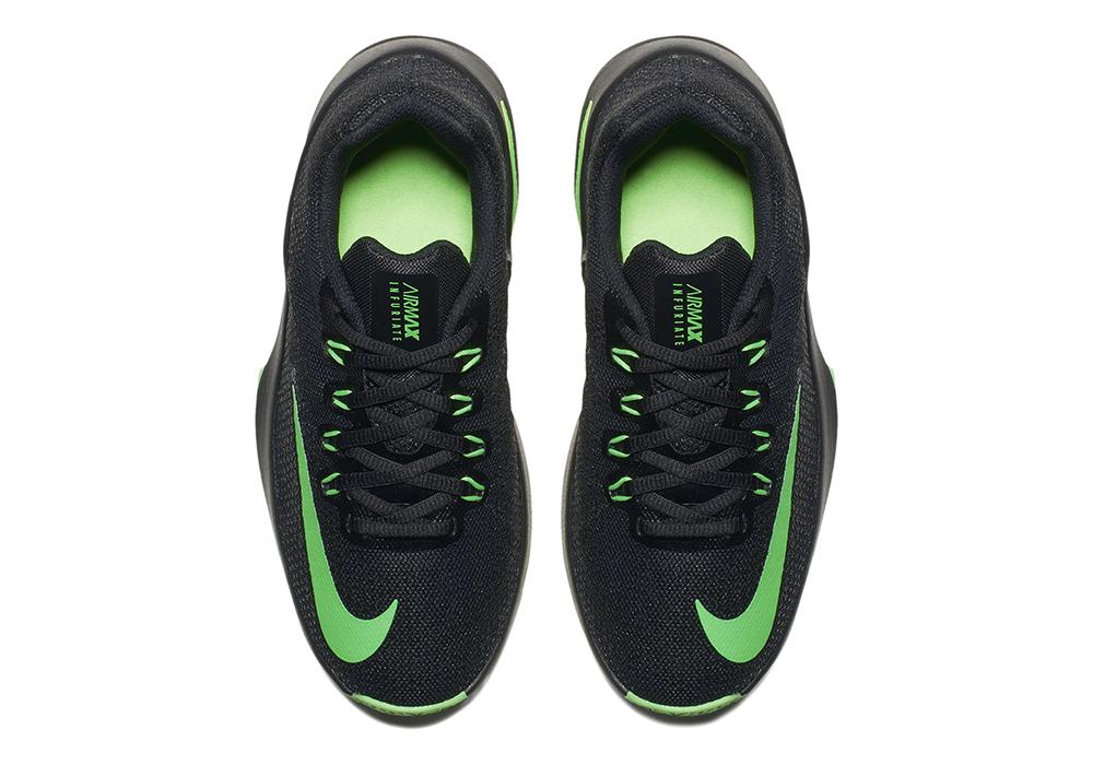 Big Boys Nike Air Infuriate Basketball Black/Green in Black