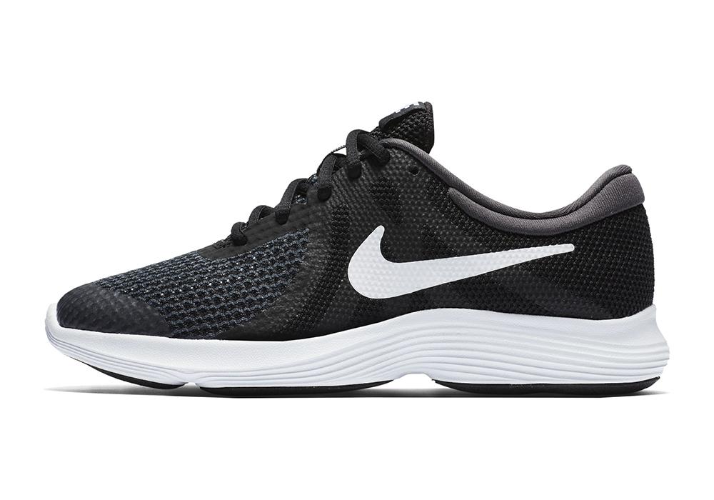 faf8929e29b73 Big Boys Nike Revolution 4 Runner Black White in Black