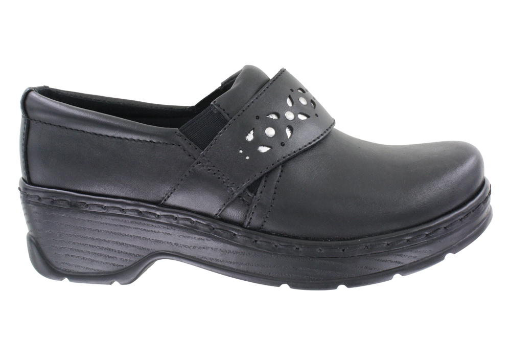 Womens Klogs Benton Slip On Black Silver