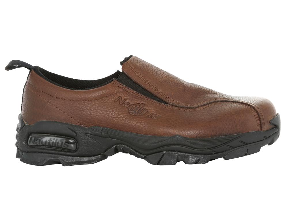 mens nautilus steel toe esd slip resistant slip on brown