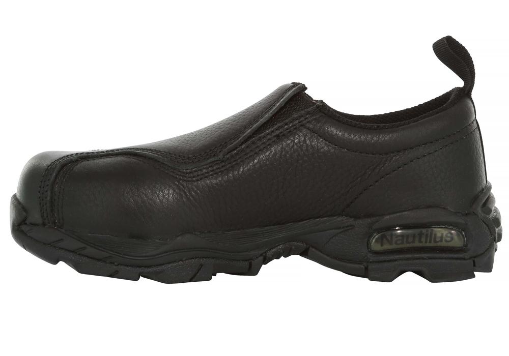e0822f7b2883 Womens Nautilus Steel Toe ESD Slip Resistant Slip-On Black in Black