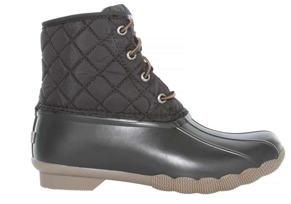 Womens Sperry Saltwater Quilted Nylon Duck Boot Black