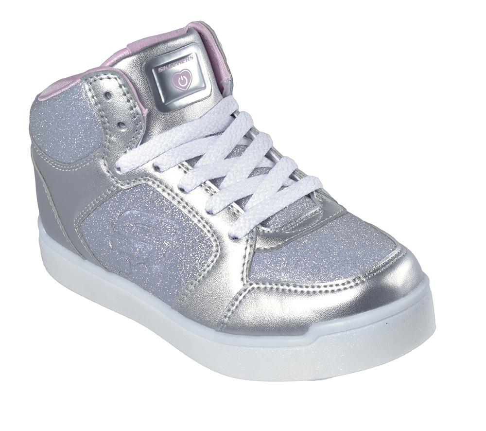 Girls Skechers Kids Energy Lights Knit Glitter Glow Silver