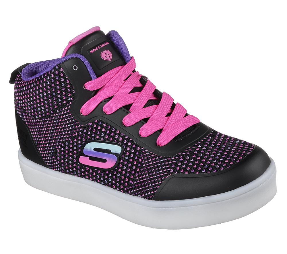 Girls Skechers Kids Energy LIGHTS Knit Glitz Black Multi