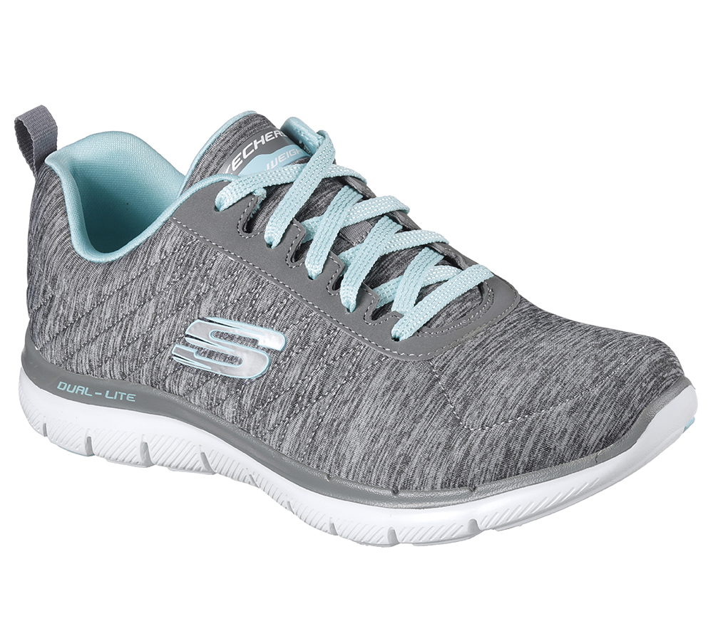 ad7e61f07d68 Womens Skechers Sport Flex Appeal 2.0 Grey Blue in Gray
