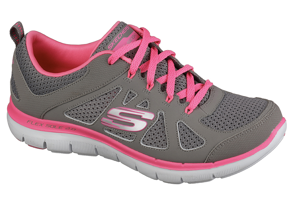 62e0a94893ae Womens Skechers Flex Appeal 2.0 Simplistic Gray Hot Pink in Gray