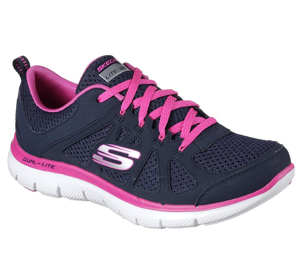 fac0a10a253b Womens Skechers Flex Appeal 2.0 Simplistic Navy Hot Pink in Blue