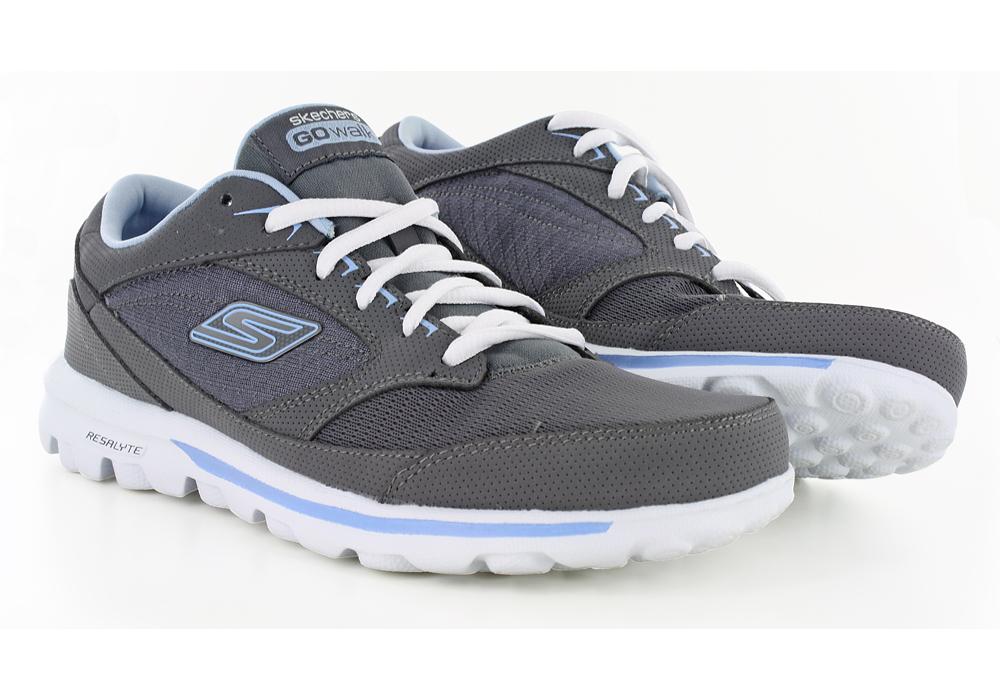 Womens Skechers GO Walk Baby Walker Charcoal Blue