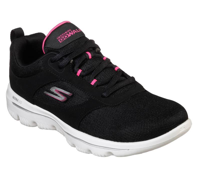 Womens Skechers Go Walk Evolution Ultra Enhance Black Pink