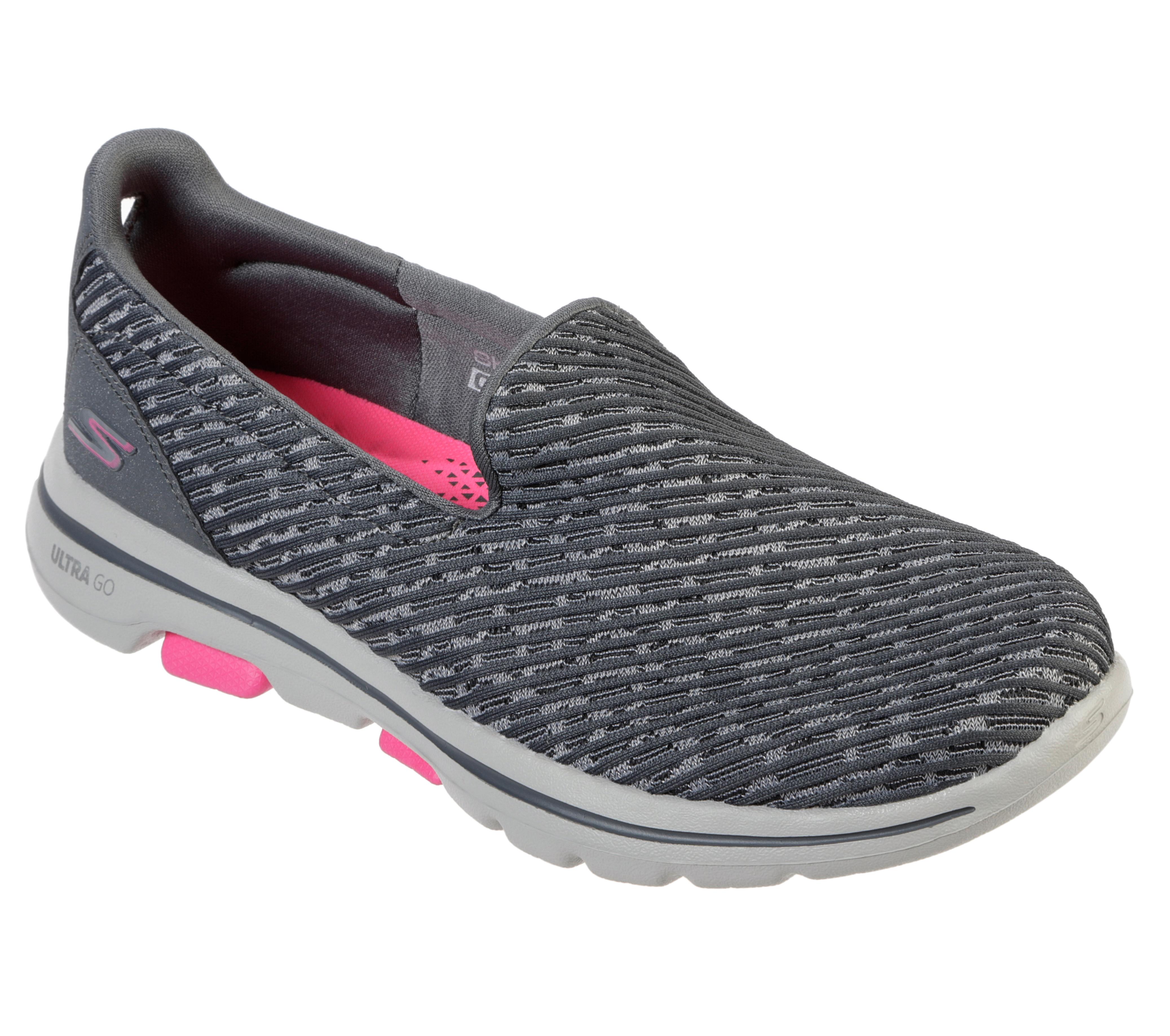 Womens Skechers GO Walk 5 Slip On Grey/Pink