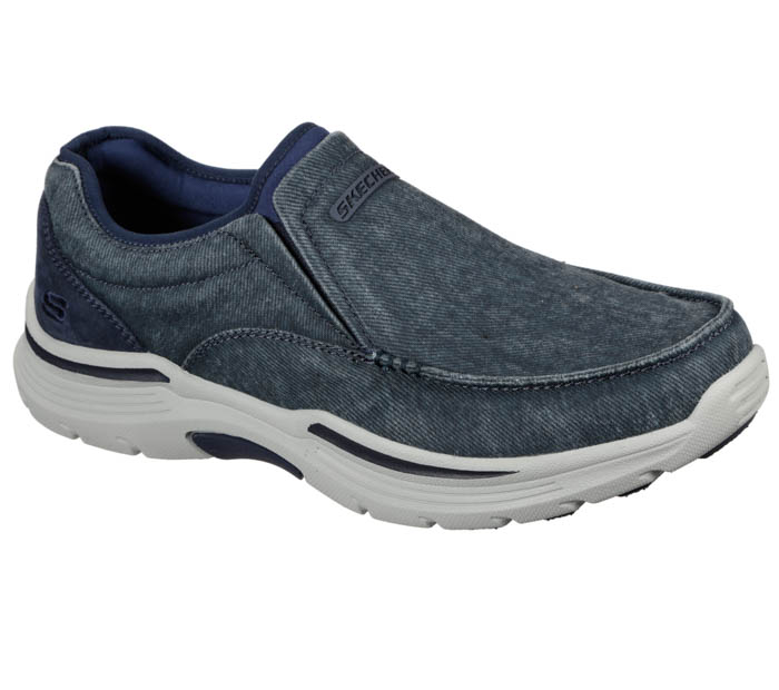 skechers slip on blue