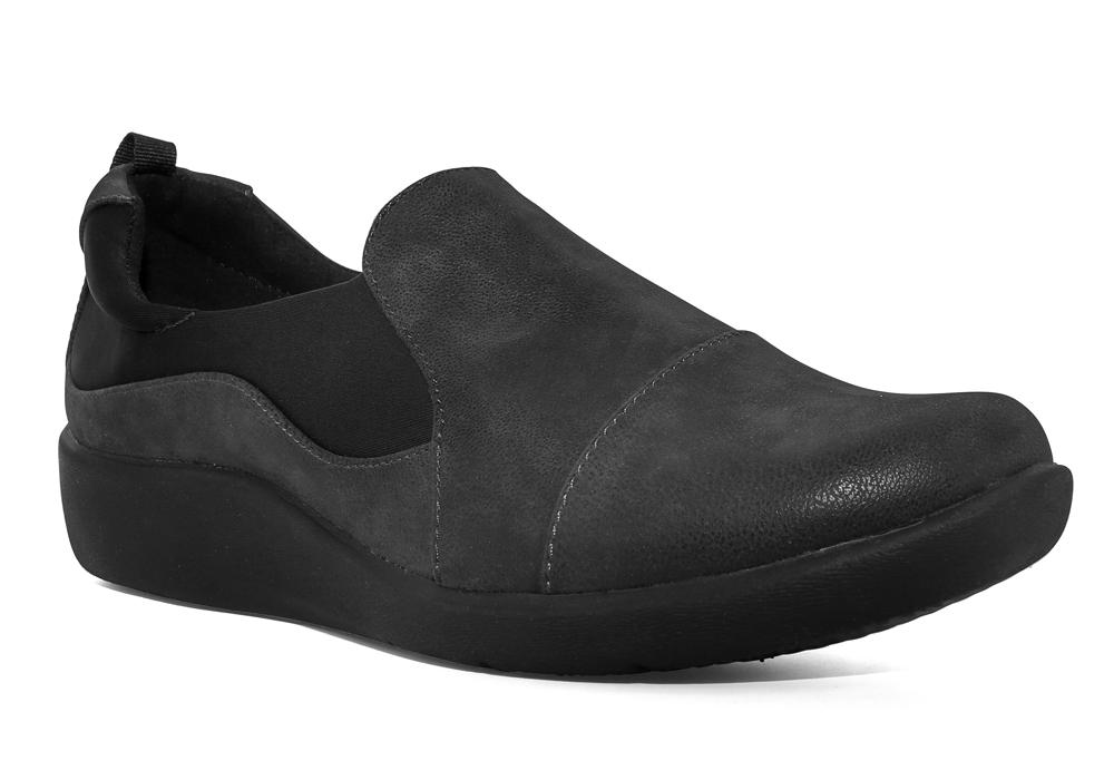 Women/'s  Clarks Sillian Paz Black Synthetic Nubuck Comfort Shoes 26120931