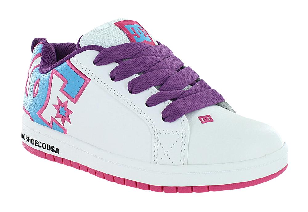 Girls DC Shoes Court Graffik Skate White / Purple / Teal