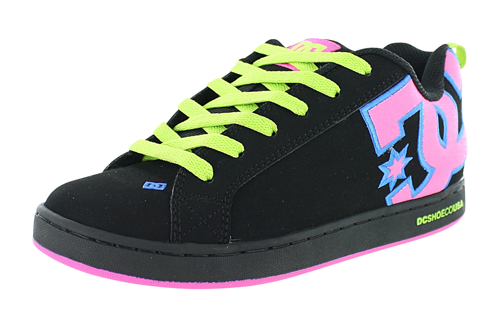 Womens DC Graffik SE Skate Shoe, Black/Pink/Plaid, at Journeys Shoes