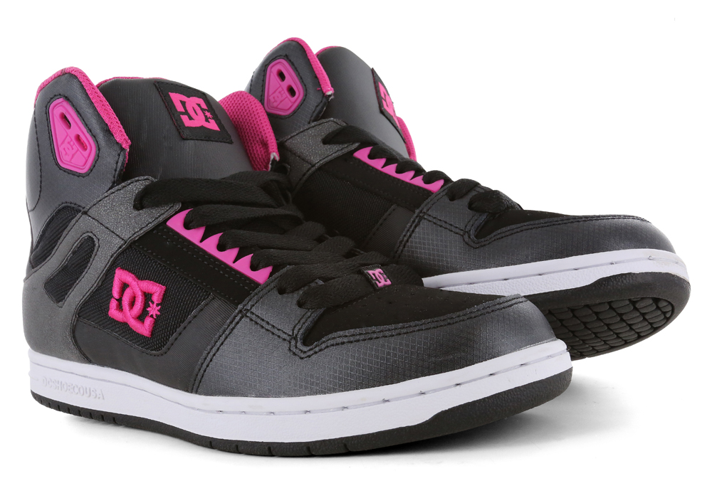 womens dc shoes rebound hi skate black pink