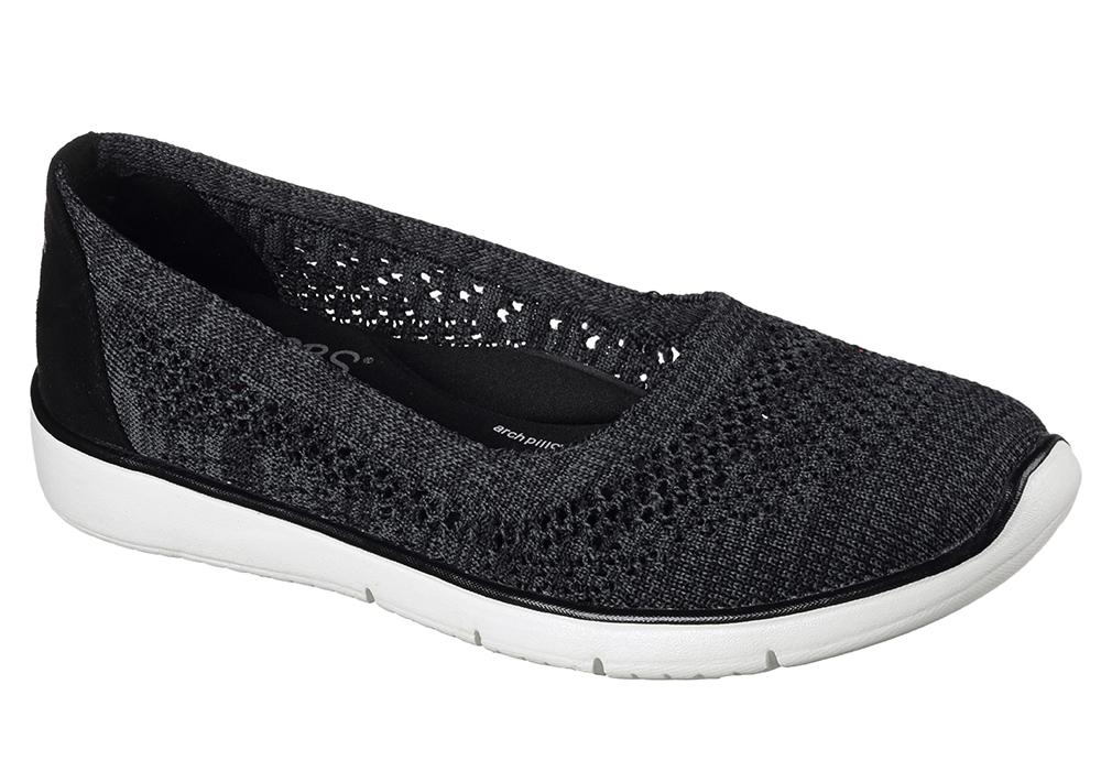 Knitting Slip On Shoes : Womens skechers bobs pureflex knit knack slip on black